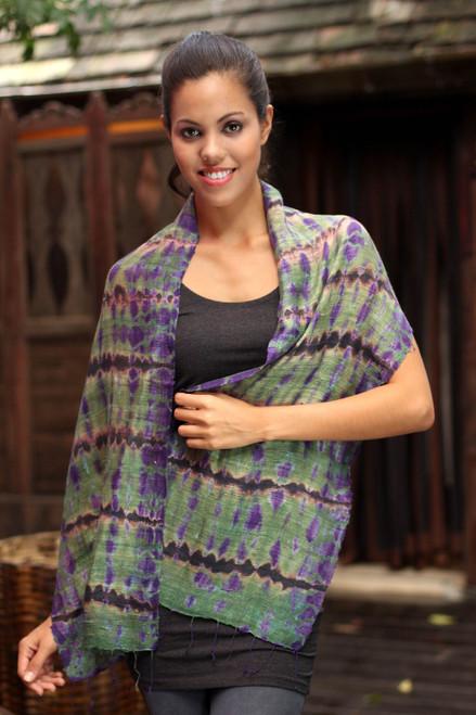 Tie Dye Scarf from Thailand 'Green Wilderness'