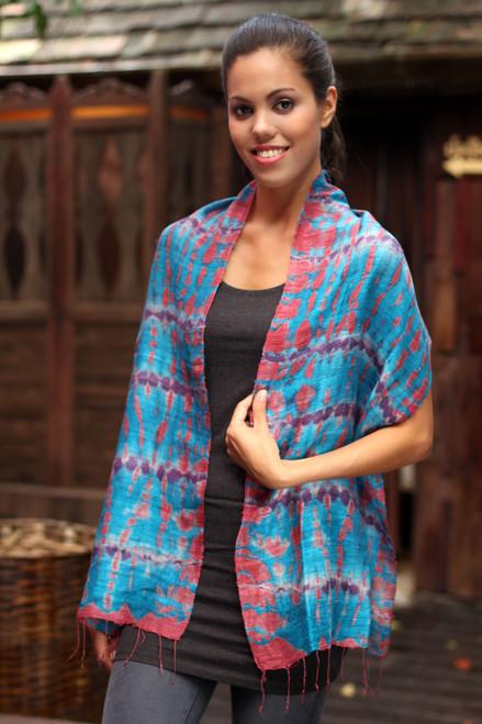 Silk Patterned Scarf from Thailand 'Azure Wilderness'