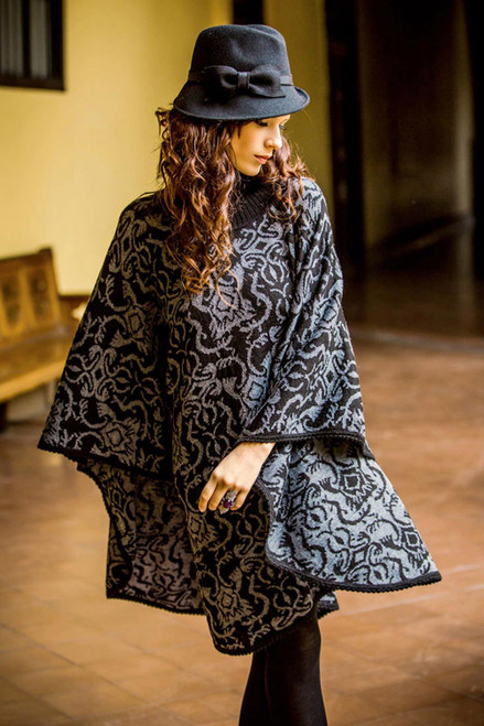 Alpaca Wool Blend Patterned Poncho 'Sublime Black'