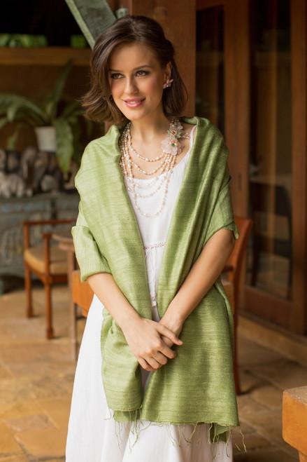 Hand Made Silk Shawl 'Green Treasure'
