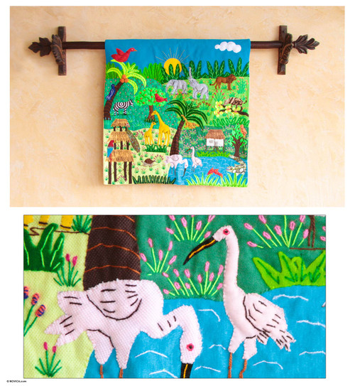 Cotton applique wall hanging 'A Jungle Story'