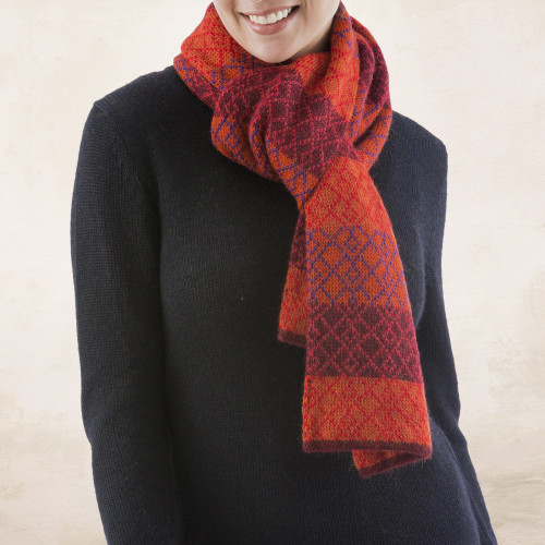 Alpaca Wool Patterned Scarf 'Diamond of the Andes'