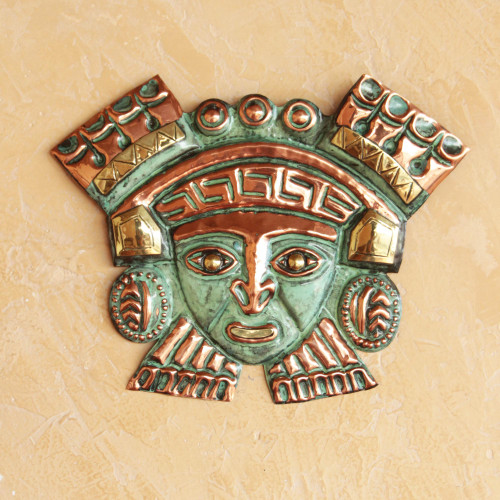 Hand Crafted Bronze and Copper Wall Decor Mask 'Moche Nobleman'