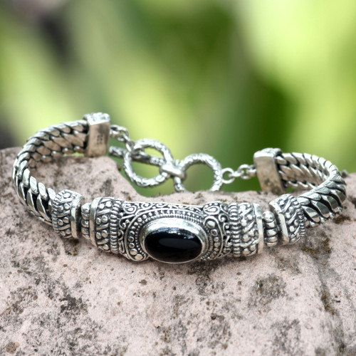 Men's Handmade Sterling Silver and Onyx Bracelet 'Royal Bali'