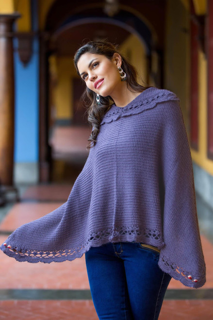 Alpaca Wool Blend Poncho from Peru 'Arequipa Purple'