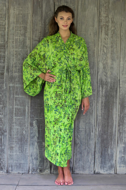Hand Made Green Batik Robe 'Emerald Forest'