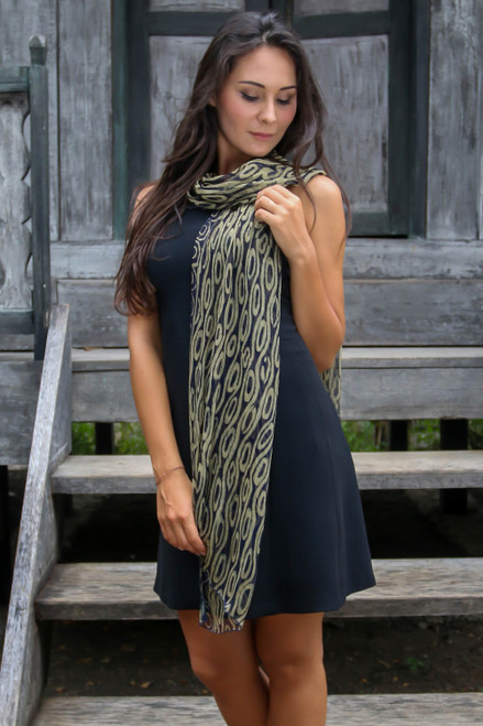 Geometric Patterned Silk Scarf from Indonesia 'Olive Mist'