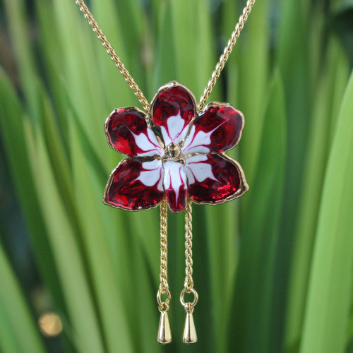 Gold Plated Natural Orchid Necklace from Thailand 'Scarlet Dancer'