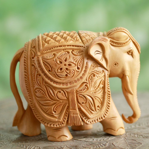 5-Inch Wood Elephant Sculpture Hand Carved in India 'Majestic Elephant'