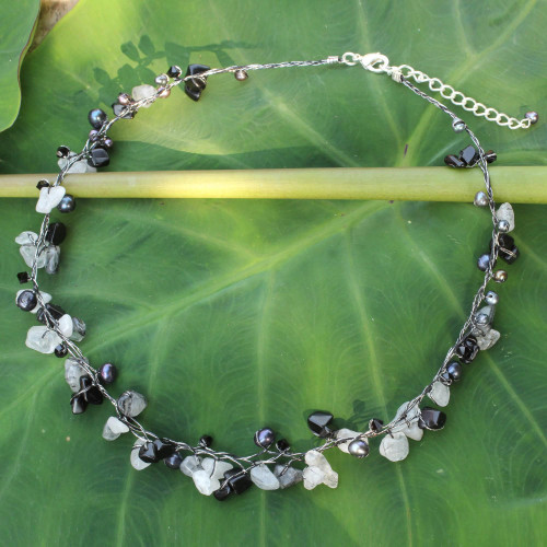 Beaded Quartz and Pearl Necklace from Thailand 'River of Night'