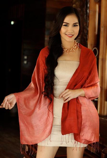 Artisan Crafted Silk Shawl 'Shimmering Vermilion'