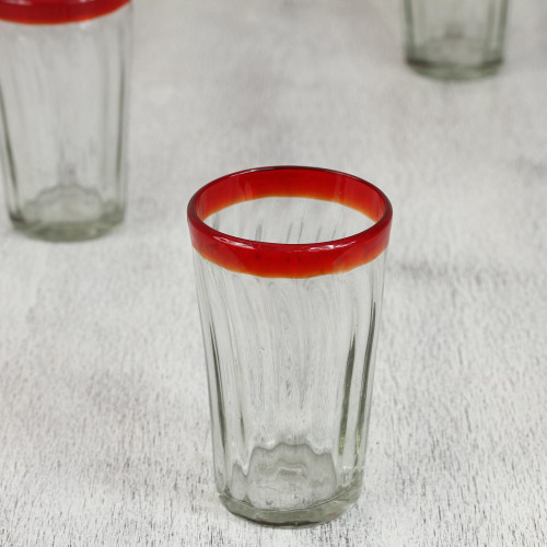 6 Collectible Mexican Recycled Red and Clear Glasses 'Ruby Groove'