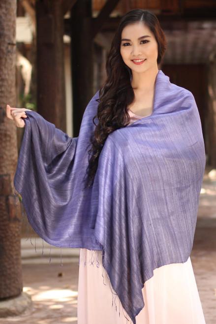 Purple Hand Crafted Thai Raw Silk Shawl 'Bold Lily'