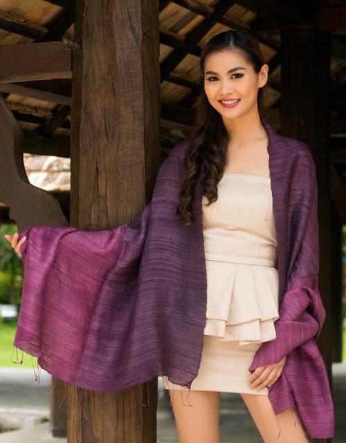 Unique Silk Shawl 'Bold Violet'