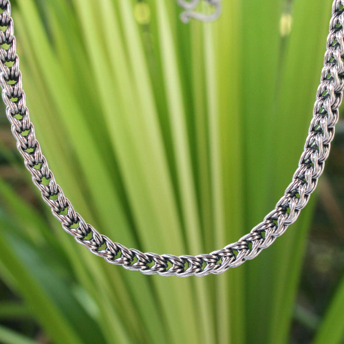 Sterling silver chain necklace 'Intricate Textures'