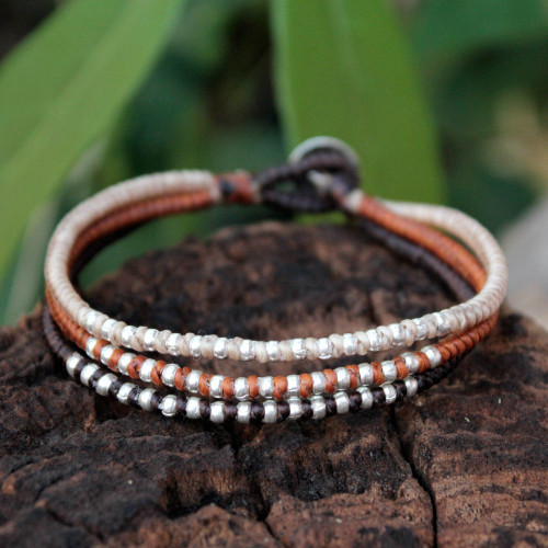 Handcrafted Hill Tribe Silver Braided Bracelet 'Cool Thai Autumn'