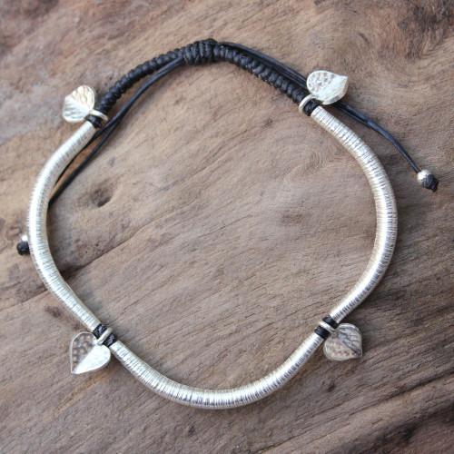 Silver charm bracelet 'Loving Hearts'