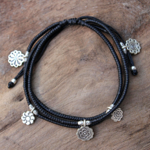 Handcrafted Hill Tribe Silver Charm Bracelet 'Assorted Blossoms'