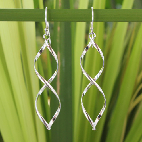 Modern Sterling Silver Dangle Earrings from Thailand 'Infinito'