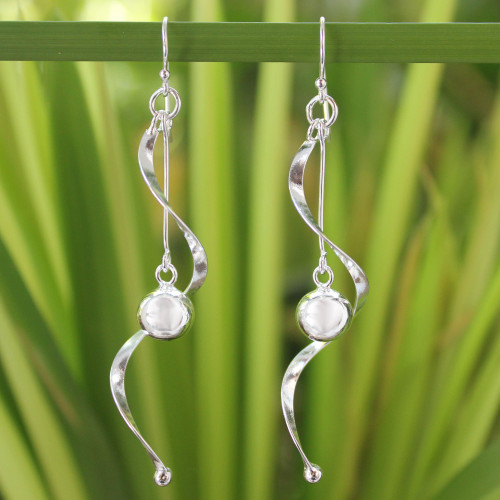 Modern Sterling Silver Dangle Earrings 'Movement'