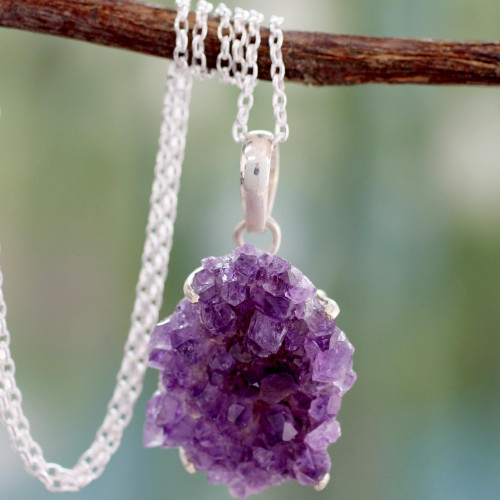 Handmade Sterling Silver and Amethyst Necklace 'Jaipur Jazz'
