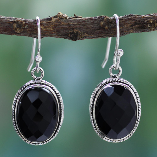 Fair Trade Jewelry Sterling Silver and Onyx Earrings  'Luscious Black'