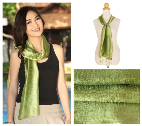 Handwoven Silk Scarf in Green from Thailand 'Jade Duality'