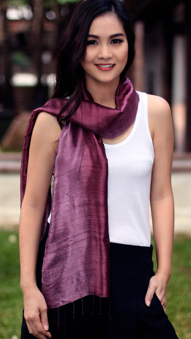 Handcrafted Batik Silk Scarf 'Orchid Duality'