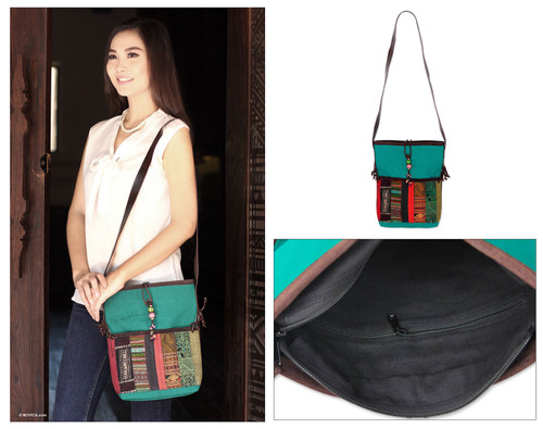 Leather accent cotton shoulder bag 'Dokmai Teal'