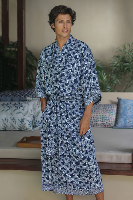 Men's Batik Robe from Indonesia 'Navy Blue Nebula'