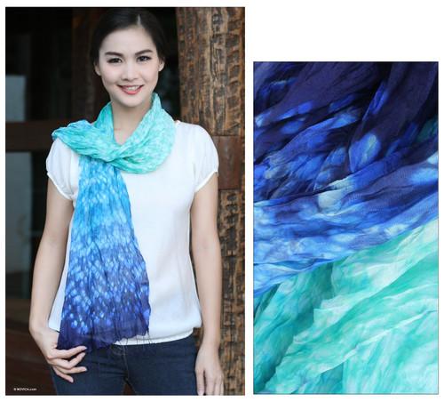Silk Scarf from Thailand 'Fabulous Sea'