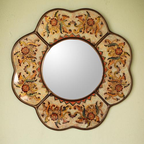 Hand Made Reverse Painted Glass Mirror from Peru 'Iridescent Cajamarca Blossom'