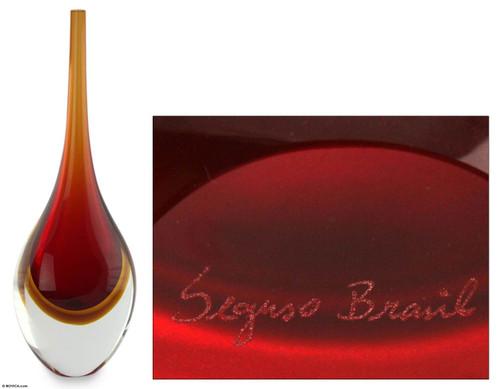Murano Inspired handblown vase 'Levitating Amber Fire'