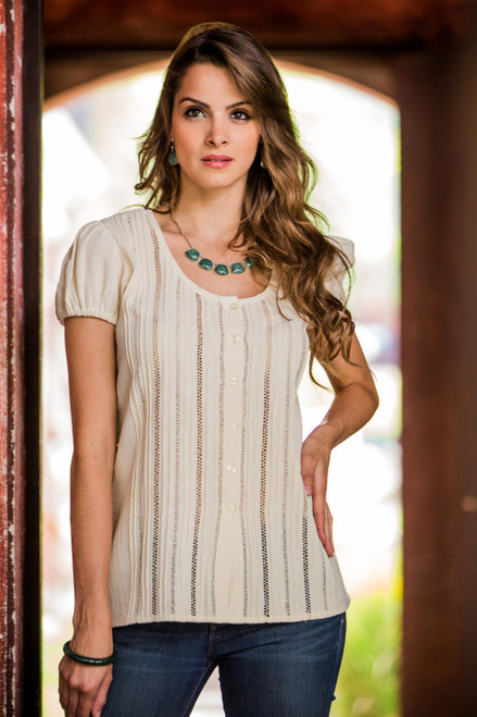 Hand Made Central American Cotton Ivory Blouse 'Natural Beauty'