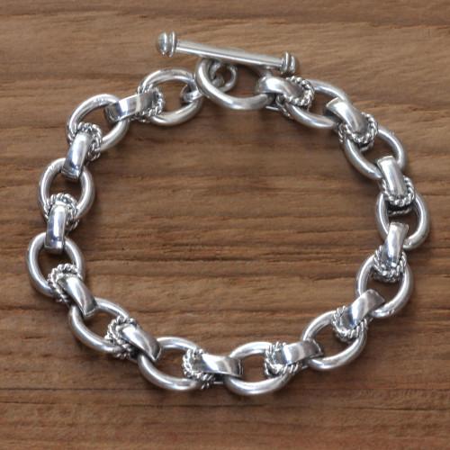 Modern Sterling Silver Link Bracelet 'Brave Lady'