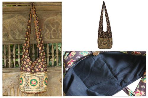 Cotton shoulder bag 'Brown Thai Universe'