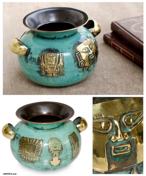 Decorative Copper and Bronze Vase from Peru 'Inca Symbolism'