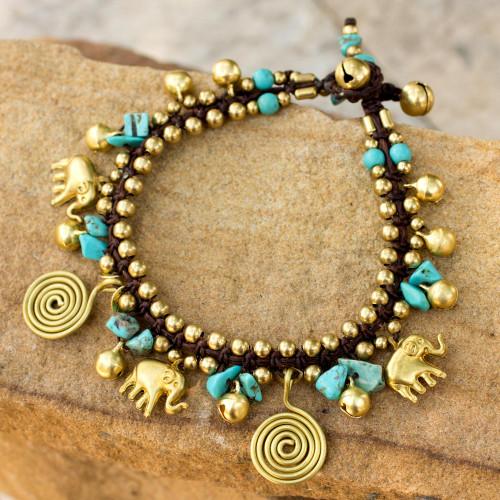 Calcite and Brass Elephant Charm Bracelet 'Splendor of Siam'