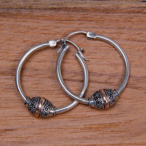 Fair Trade Gold Accent and Sterling Silver Hoop Earrings 'Lotus Seed'