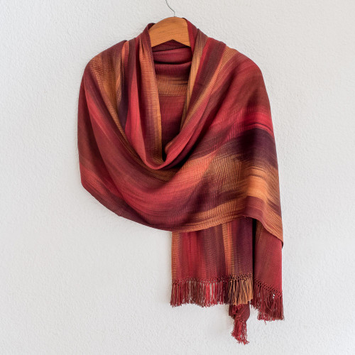 Unique Rayon Chenille Shawl 'Maya Firebird'
