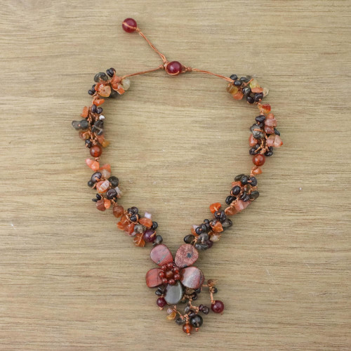 Jasper and carnelian flower necklace 'Dazzling Bloom'