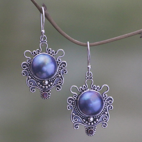 Indonesian Sterling Silver and Pearl Dangle Earrings 'Bandung Blue Moon'