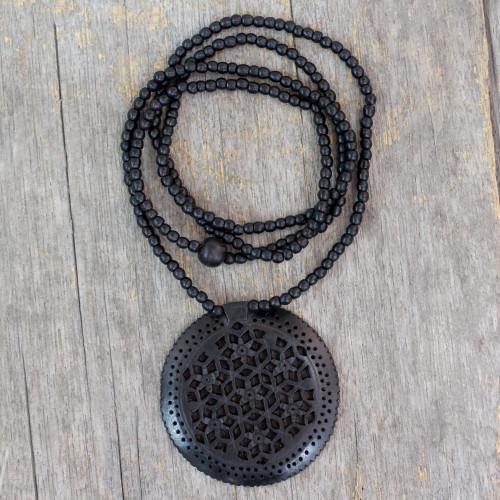 Jali Jewelry Ebony Wood Beaded Necklace 'Mughal Enchantress Medallion'