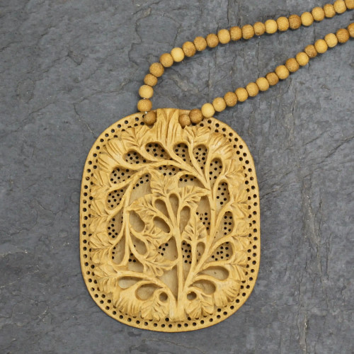 Hand Made Indian Floral Wood Pendant Necklace 'Elephant Shadow'