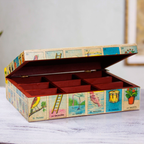 Mexican Bingo Decoupage on Wood Decorative Box 'Mexican Loteria'