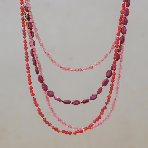 Beaded necklace 'Summer Roses'