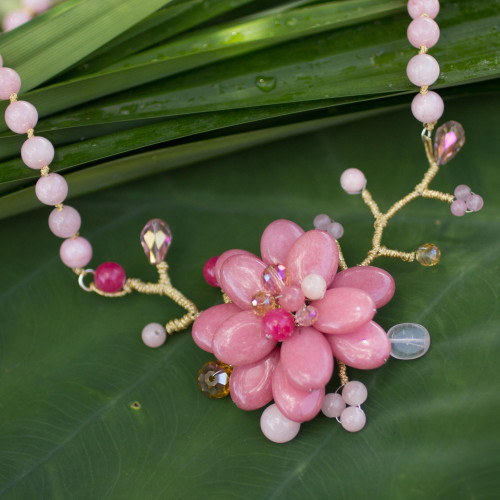 Beaded flower necklace 'Rose in Bloom'