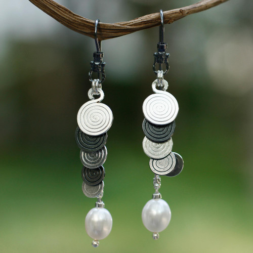 Handcrafted Taxco Silver and Cultured Pearl Earrings 'Waterfall'