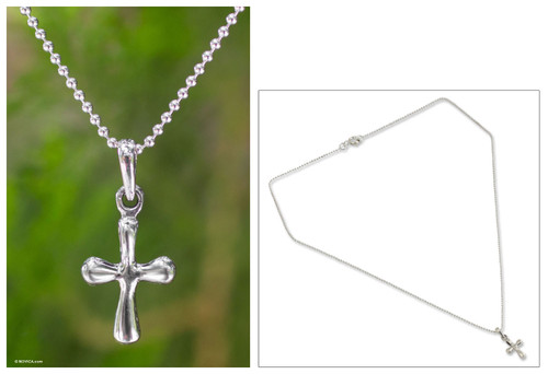 Sterling Silver Pendant Necklace 'Modern Cross'