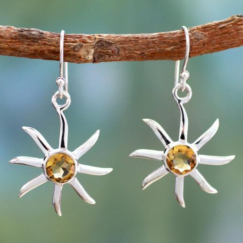 Citrine dangle earrings 'Golden Sun'